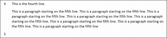 An example of line numbers missing a paragraph in Word