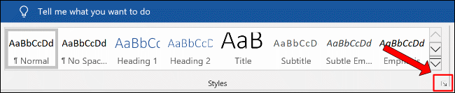 Click the additional Styles menu button in the Home > Styles section