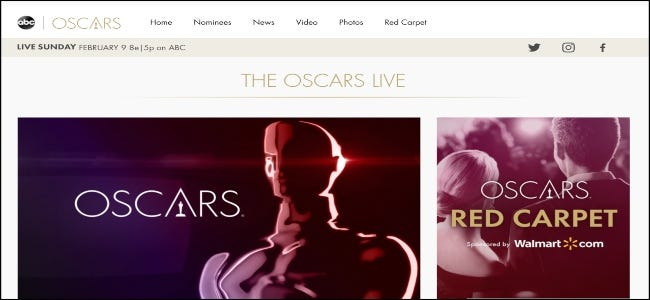 The ABC website featuring the Oscars.