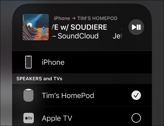 """List of devices in the """"AirPlay"""" menu on iOS."""
