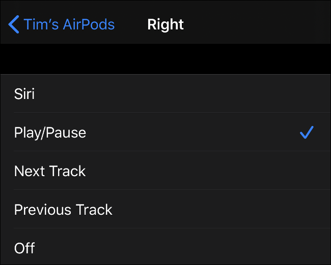 "The menu to customize AirPods gestures for the ""Right"" ear."