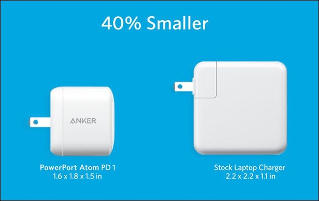 The Anker PowerPort Atom PD 1 next to the larger stock laptop charger.