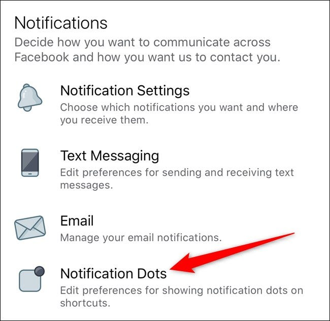 Apple iPhone Facebook App Select Notification Dots
