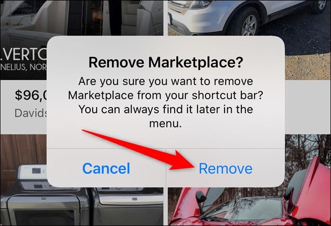 Apple iPhone Facebook App Select Remove Button