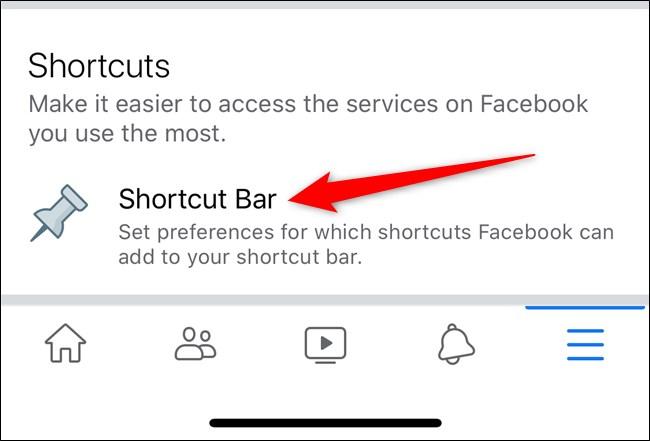 Apple iPhone Facebook App Select Shortcut Bar Option