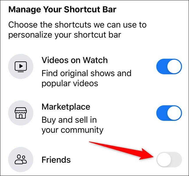 Apple iPhone Facebook App Select Toggle Next to Corresponding Tab
