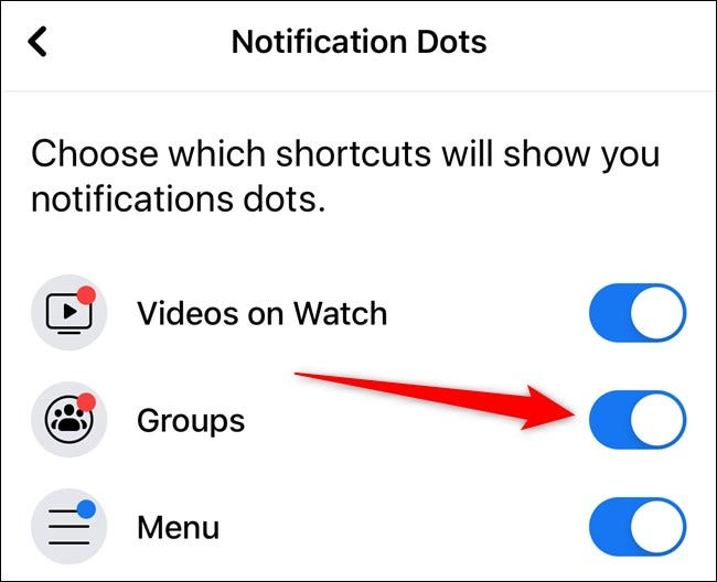 Apple iPhone Facebook App Toggle Notification Dots Per Item