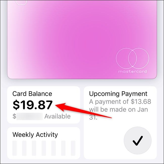 Apple iPhone Select Card Balance Tile in the Wallet App