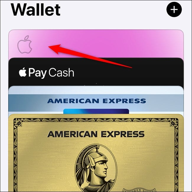 Apple iPhone Select Apple Card in the Wallet App