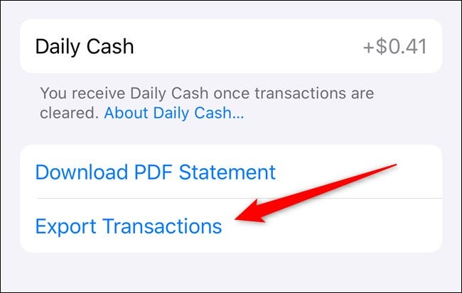 Apple iPhone Select Export Transactions in the Wallet App