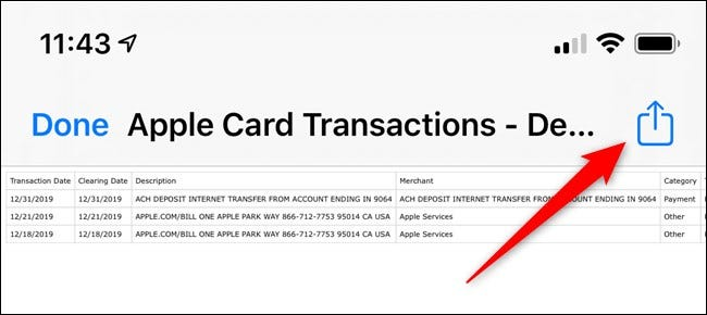 Apple iPhone Select Share Button in the Wallet App