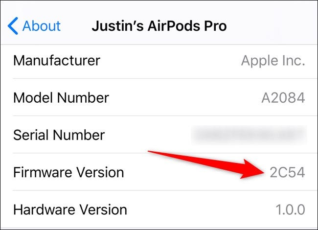 Apple iPhone View AirPods Firmware Version