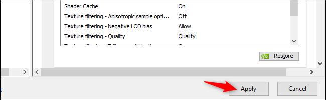 Applying NVIDIA Control Panel settings on Windows 10