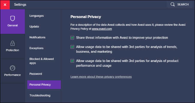 Personal privacy data sharing options in Avast.