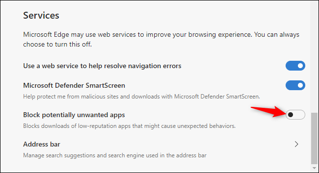 Enabling Microsoft Edge's junkware blocker