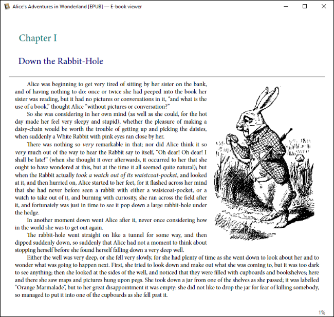 Calibre showing an EPUB copy of Alice in Wonderland on Windows 10.