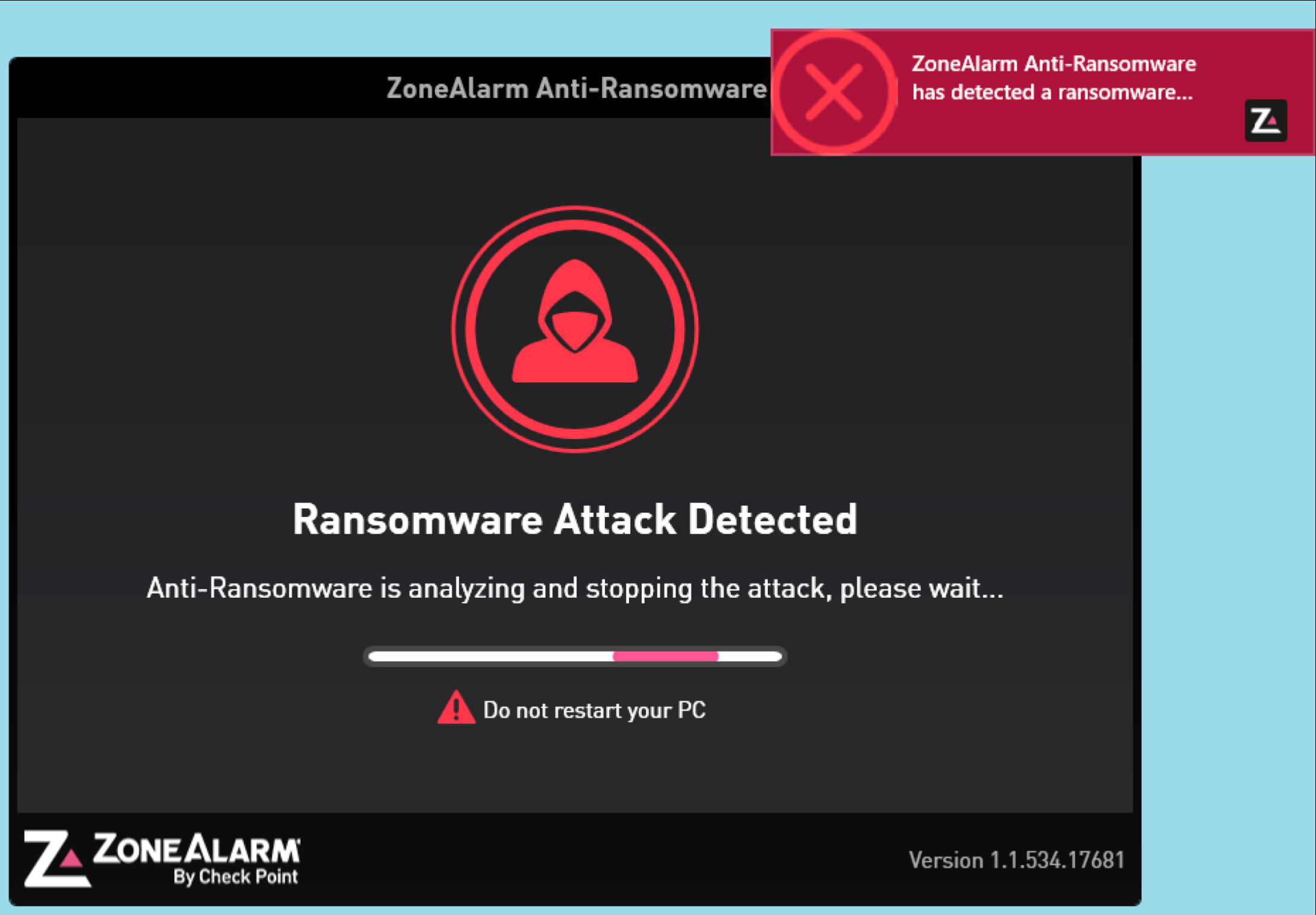 The ZoneAlarm Anti-Ransomware software.