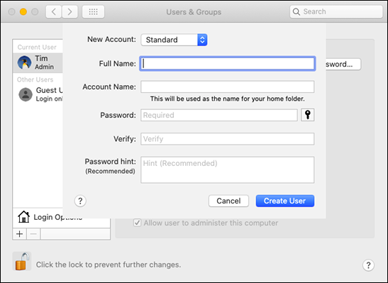 "The ""Users & Groups"" form in ""System Preferences"" on a Mac."