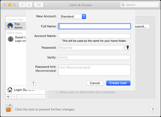 """The """"Users & Groups"""" form in """"System Preferences"""" on a Mac."""