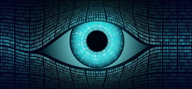 An eye representing digital surveillance.