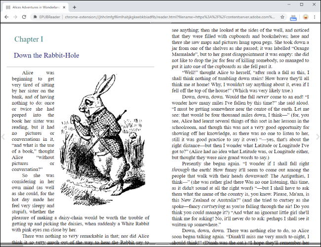Reading an EPUB file directly in Google Chrome.