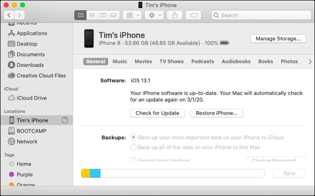 Ventana de sincronización de iOS del Finder