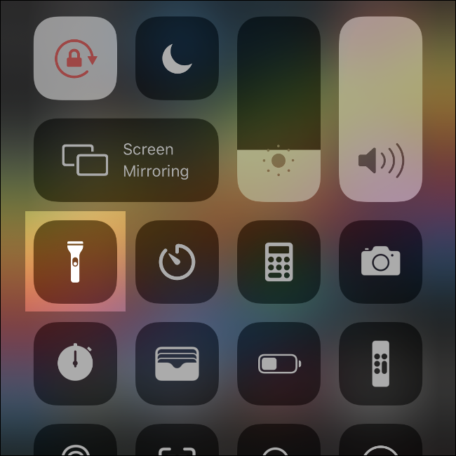 The Control Center in iOS.