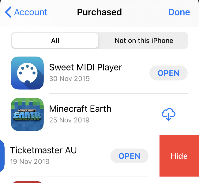"""The """"Purchased"""" screen in the App Store."""
