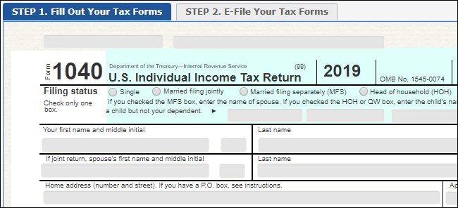 The Free Fillable Tax Forms website operated by the IRS.