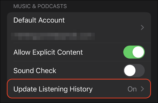 """Tap """"Update Listening History"""" to turn it off."""