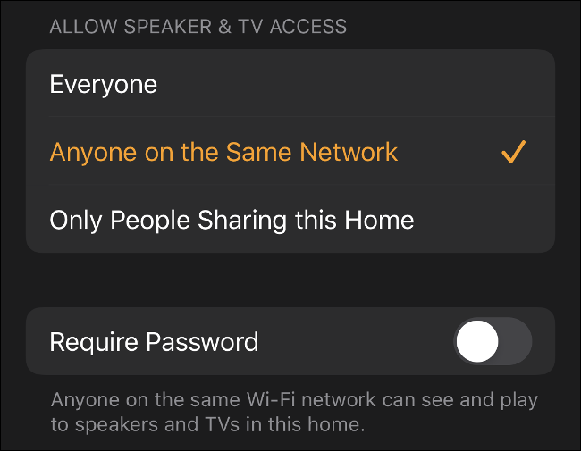 """The """"Allow Speaker and TV Access"""" menu in the Home app for iOS."""