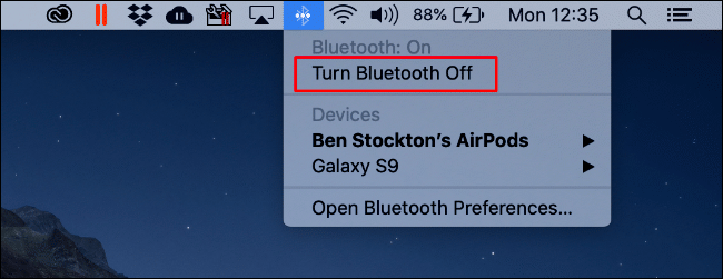 "Click the Bluetooth icon, and then click ""Turn Bluetooth Off."""