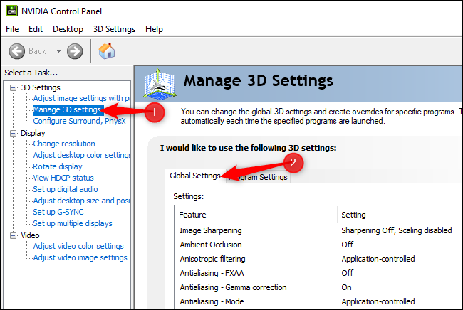 Managing global 3D settings in the NVIDIA Control Panel