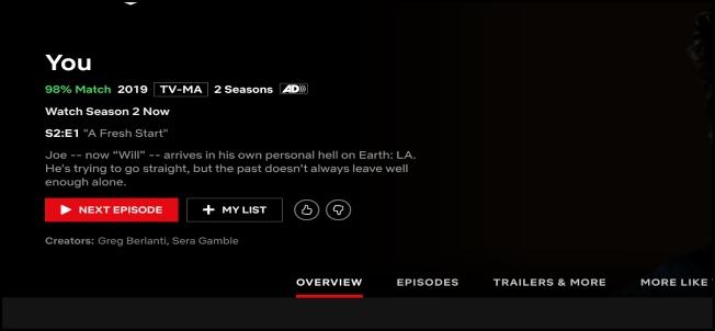 Netflix Play Episode screen