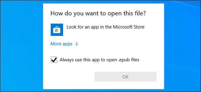 EPUB opening prompt on Windows 10