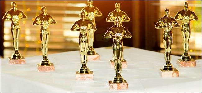 Eight Oscar statuettes.