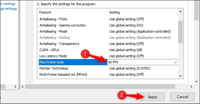 Establecer un límite de velocidad de fotogramas para un juego específico en los controladores GeForce de NVIDIA.