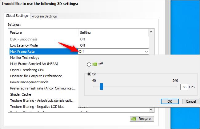 Habilitación de una velocidad de fotogramas máxima a nivel mundial en los controladores de NVIDIA