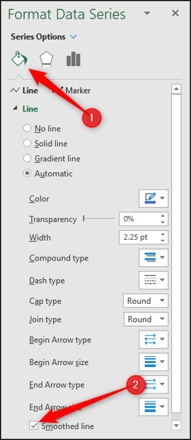 Format a data series as a smoothed line