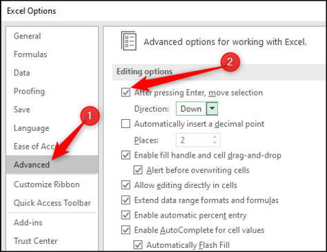 Stop movement of selected cell on pressing Enter