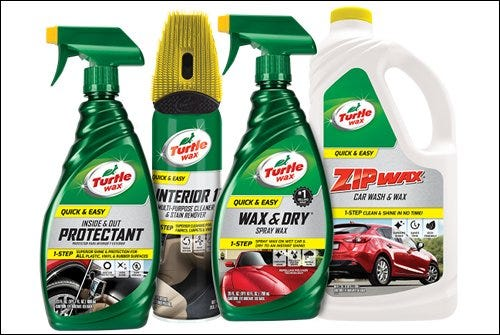 Four bottles of Turtle Wax auto glass scratch repair products.
