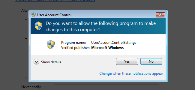 A User Account Control security prompt on Windows 7.