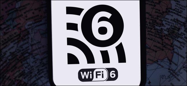 The Wi-Fi 6 logo on a smartphone.