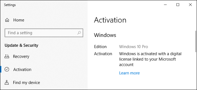Windows 10's Settings screen showing it's activated with a digital license.