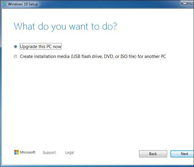 Using the Windows 10 setup tool to upgrade a Windows 7 system.