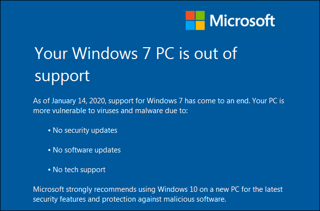 """The """"Your Windows 7 PC is out of support"""" warning on a Windows 7 PC."""