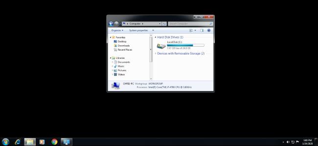 Black wallpaper on a Windows 7 desktop.