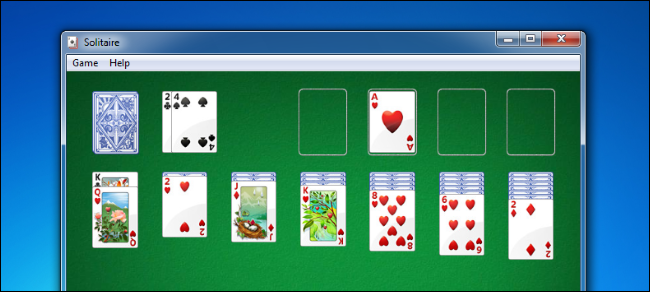 Solitaire on Windows 7.