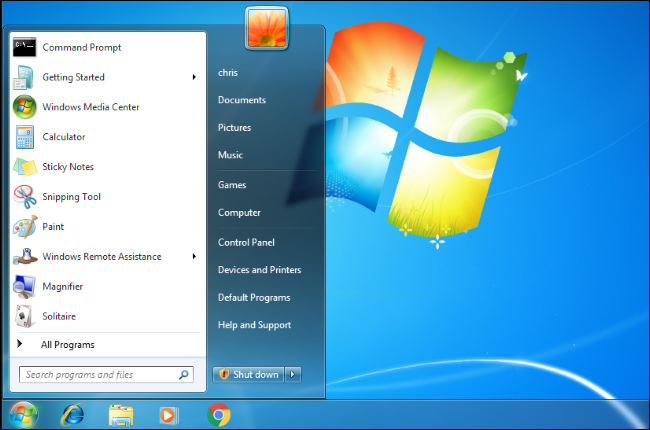 The Start menu open on a Windows 7 desktop.