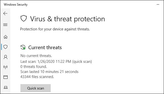 La pantalla de protección contra amenazas y virus de seguridad de Windows en Windows 10